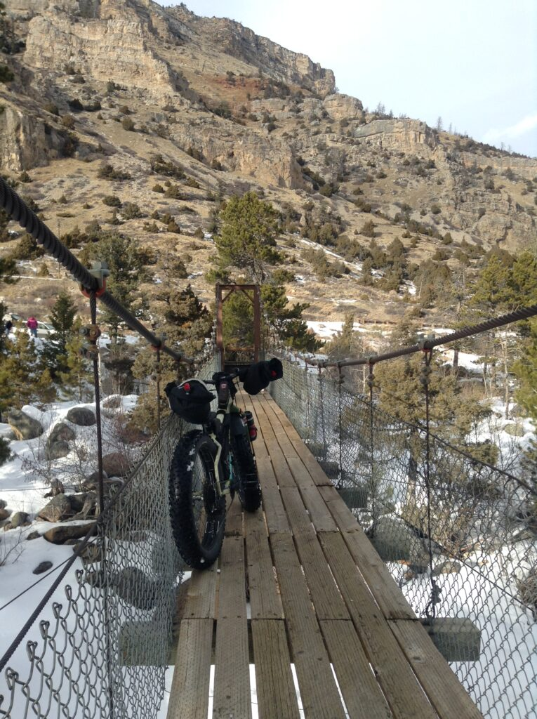 Fat biking Sinks Canyon, Lander, Wyoming. Sinks Canyon State Park.