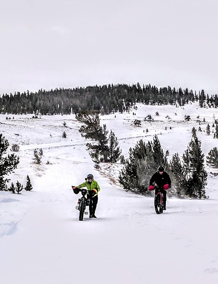 Winter fat biking in the Wind River Mountains near Lander, Wyoming and South Pass, Wyoming
