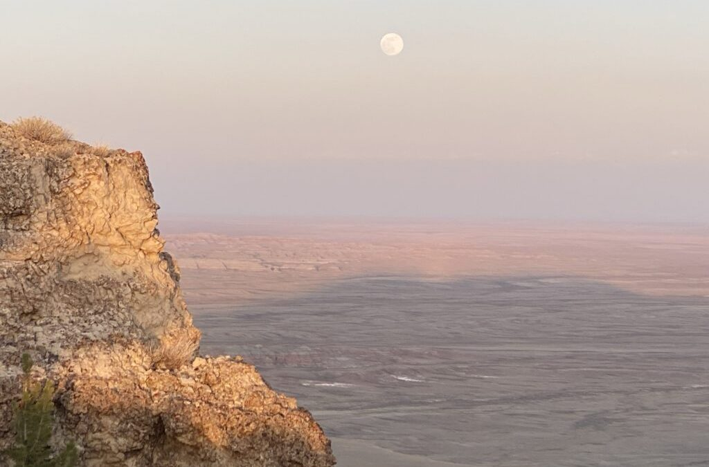 Sunset and Moonrise in the Red Desert