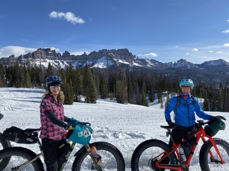 Fat bike girls at the Togwotee Winter Classic, Wyoming