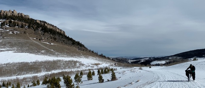 Winter bikepacking in the Wind River Mountains of Wyoming. Lander Loop Road and Fossil Hill.