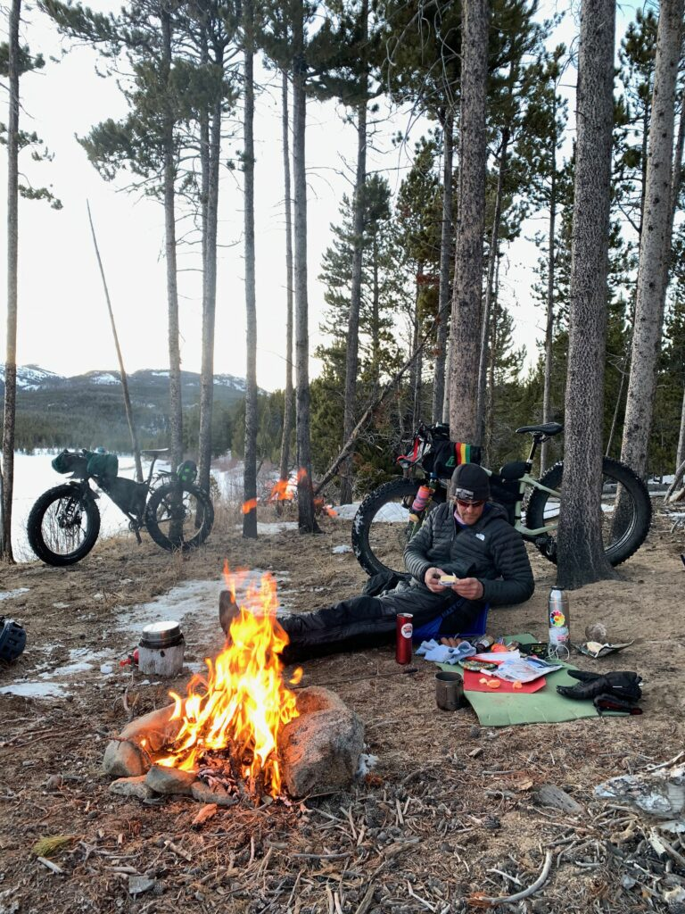 Winter bikepacking in the Wind River Mountains of Wyoming. Worthen Reservoir.