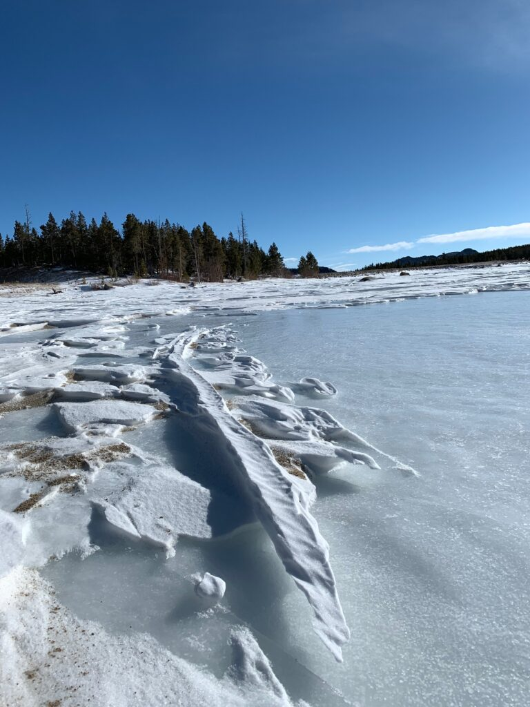 Fat bike winter tracks and snow sculpture in Wind River, Wyoming.