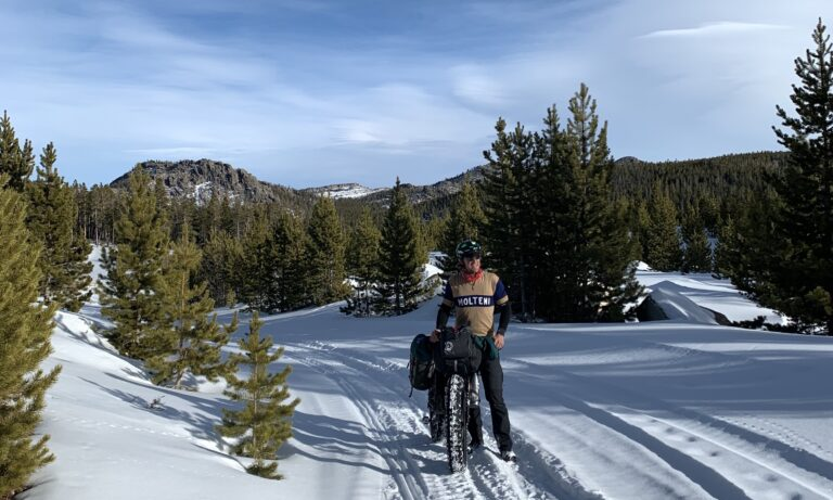Winter bikepacking in the Wind River Mountains of Wyoming.