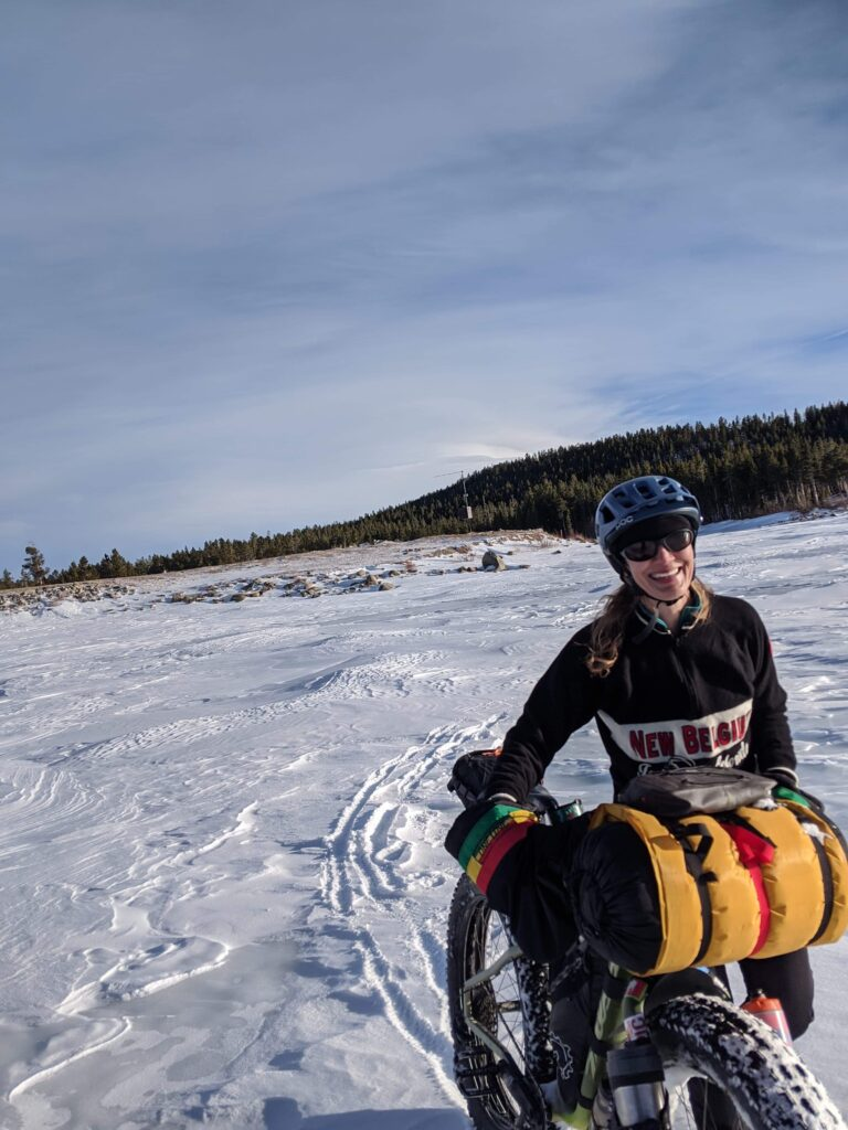 The author Fat Bike Girl winter bikepacking with fat bikes in the Wind River Mountains of Wyoming.