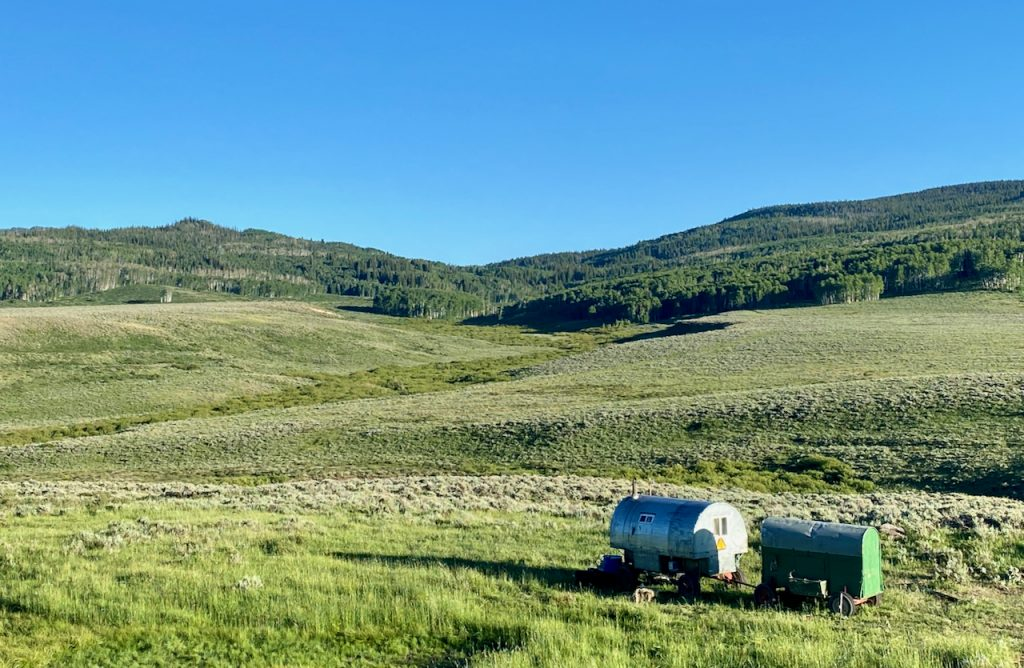 Sheep wagon on the great divide mountain bike trail.