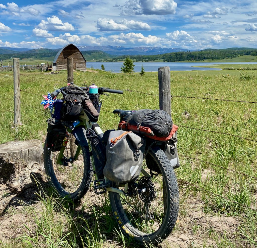 Fat bike on the great divide mountain bike trail and Steamboat Lake.