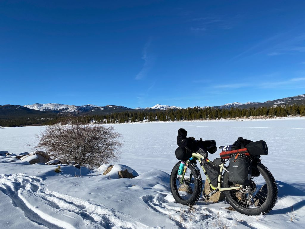 Winter bikepacking in the Wind River Mountains, Frye Lake